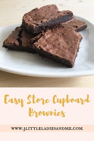 3 little ladies and me: Super Easy Store Cupboard Brownies - these are so easy to make and so yummy! The recipe is super simple and uses ingredients I always have in my cupboard meaning I can whip up a batch whenever we fancy a chocolate fix! Click the link below for the recipe: