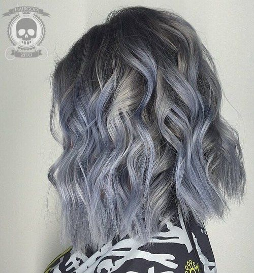 Wavy Silver Lob With Pastel Blue Highlights