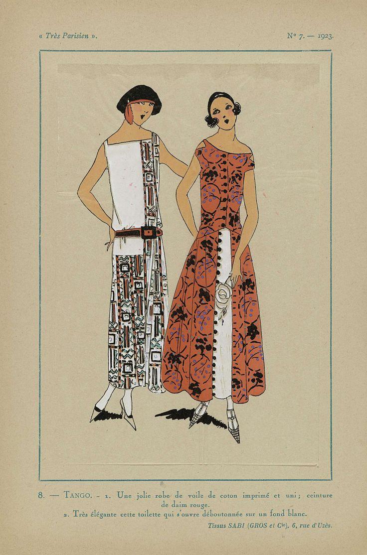 Anonymous | Très Parisien, 1923, No 7:  8.- TANGO. - 1. Une jolie robe de voile..., Anonymous, Sabi (Gros et Cie), G-P. Joumard, 1923 | 1. Jurk van katoenen voile deels bedrukt en effen; ceintuur van rode suede. 2. Toilette die deels is opengeknoopt op een witte ondergrond. Stoffen van Sabi (Gros et Cie). Verdere accessoires: baret met veer, pumps. Prent uit het modetijdschrift Très Parisien (1920-1936).