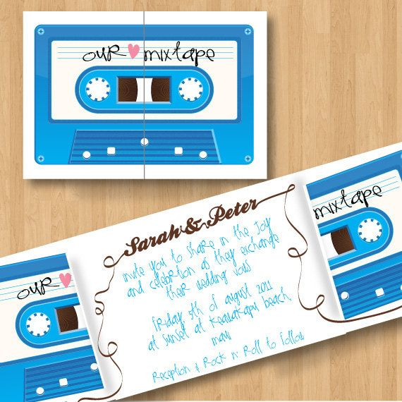 cute mix tape wedding invitations