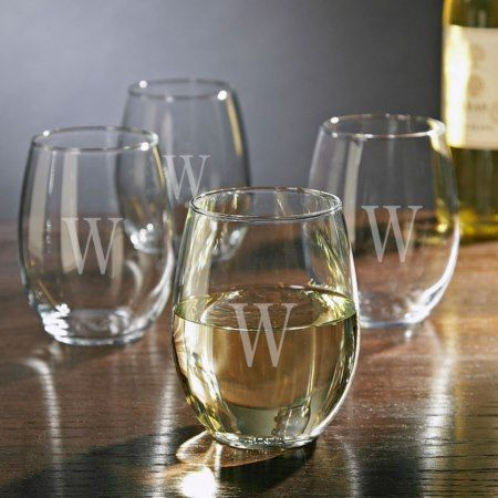 Personalized Stemless White Wine Glasses - click/tap to personalize and buy