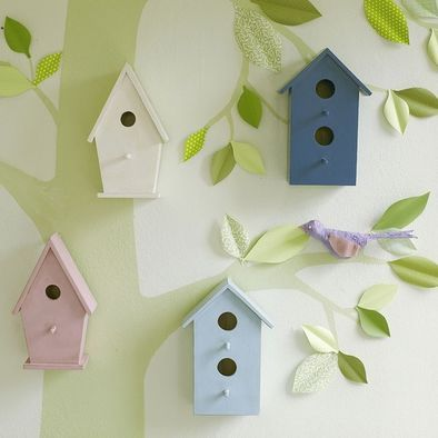 cute little bird houses maybe even hing the fronts to have hideaways