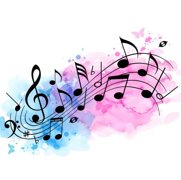 Music Background With Notes And Watercolor Texture Musical Notes Stock Illustrations Clip Art Cartoo Music Notes Art Music Notes Drawing Music Illustration