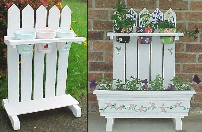 Plant stands.  Build some of these to attach to the pallet fence.