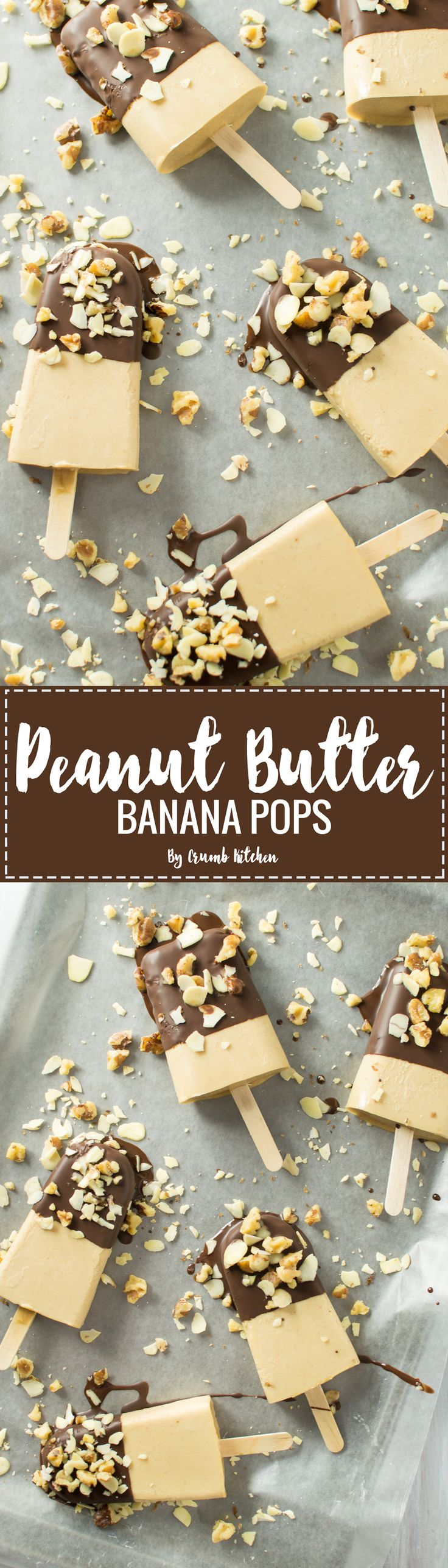 These creamy peanut butter banana pops are topped with a chocolate coconut oil magic shell and hearty crumbled nuts. | Crumb Kitchen