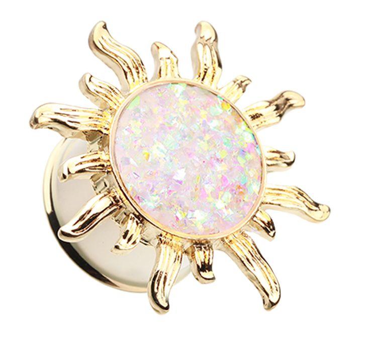 Golden Colored Blazing Sun Opalescent Glitter Ear Gauge Plug