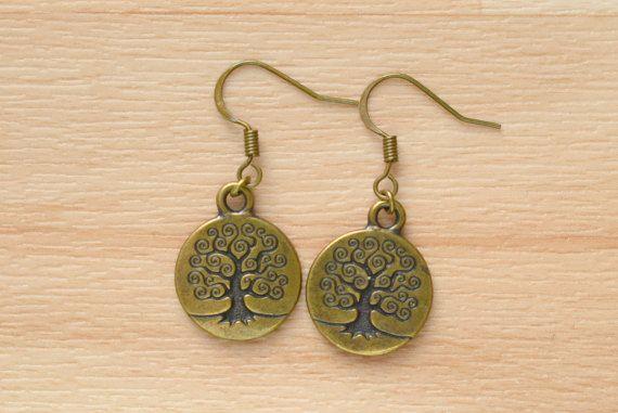Bronze Tree Earrings  Tree Of Life Jewelry  Small Dangle