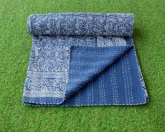 Twin Size Kantha Quilt Indigo Cotton Sari Kantha Blanket Indigo Dyed Cotton Kantha Bedspread Kantha Throw Natural Color Kantha Bed Cover