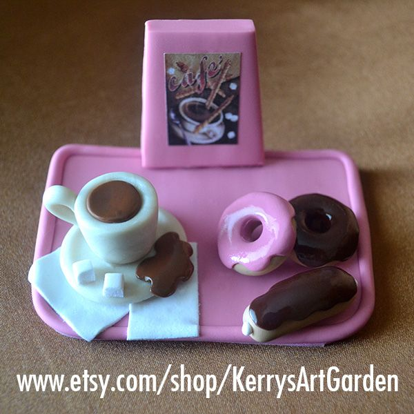 Coffee & Donuts Polymer Clay Business Card Holder $30 www.etsy.com/shop/KerrysArtGarden