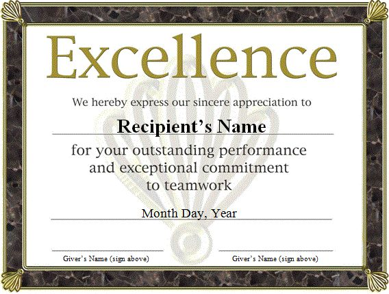 Performance Certificate Template Free Funny Award Certificates - free award certificates