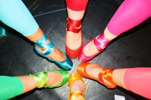 Colorful footless tights and pointe shoes, ballet