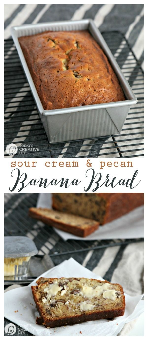 Banana Bread Recipe made with Sour Cream and Pecans | This easy and simple banana nut bread bread is moist and full of flavor.