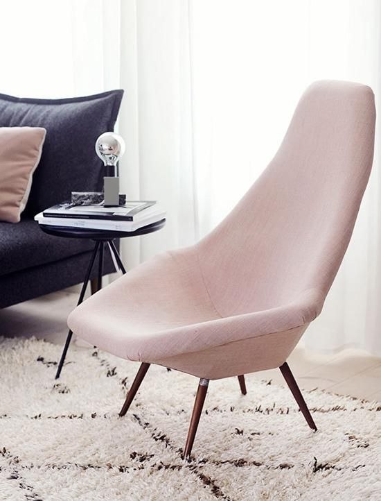 How to Decorate with Pantone's Rose Quartz and Serenity - Try a modern  accent chair in rose quartz that doesn't overpower the room.