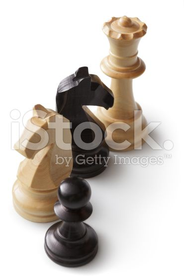Chess: Queen, Knights and Pawn royalty-free stock photo