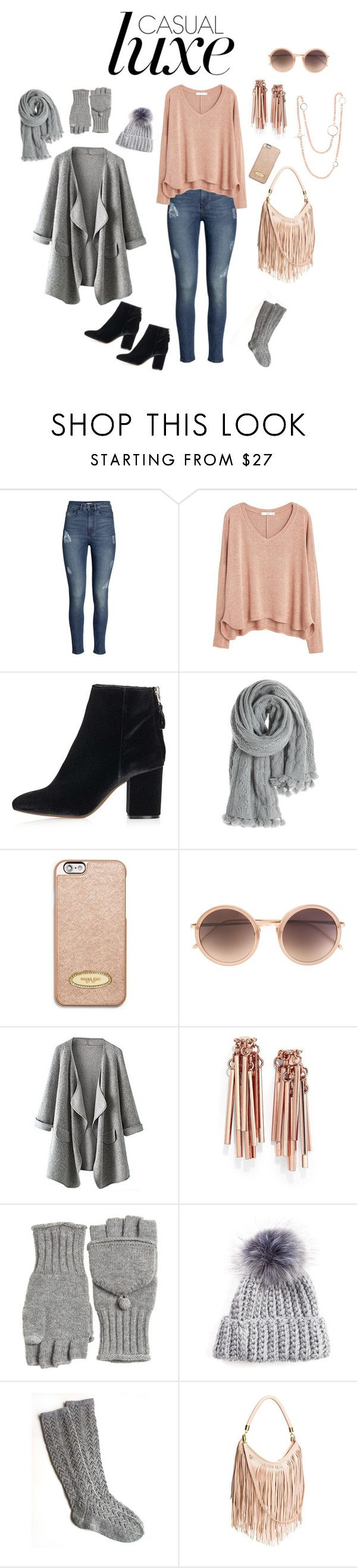 """""""Pink & Gray Casual Luxe for Winter"""" by irenehelms on Polyvore featuring H&M, MANGO, Topshop, Calypso St. Barth, MICHAEL Michael Kors, Linda Farrow, Eddie Borgo and Erin Cox Jewellery"""