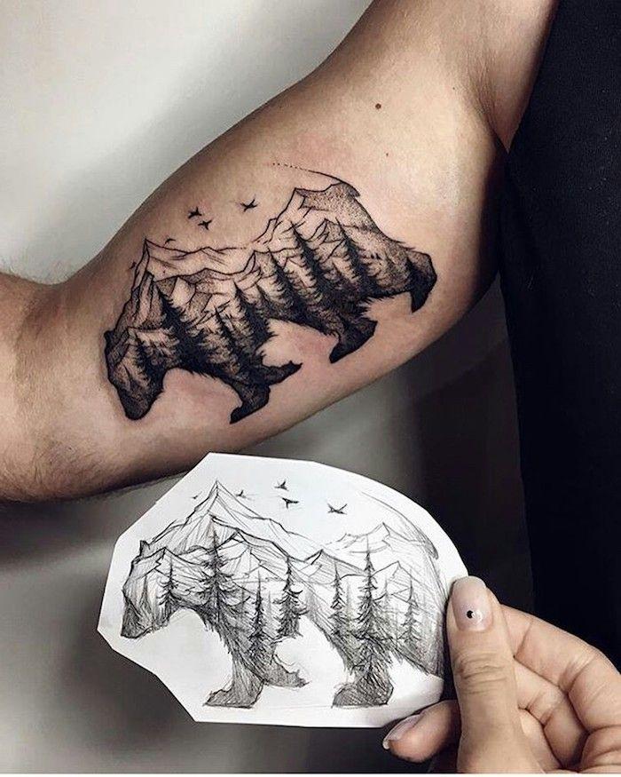 tatouage homme, dessin blanc et noir en crayon, motifs animaux, tatouage montagne