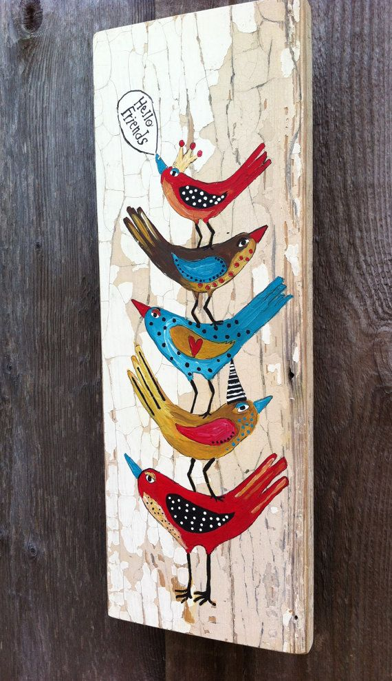 Hello Birds Shabby Chic Painting on Flakey Wood by evesjulia12 on Etsy