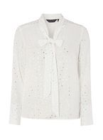 Womens Ivory and Silver Spotted Top- Ivory