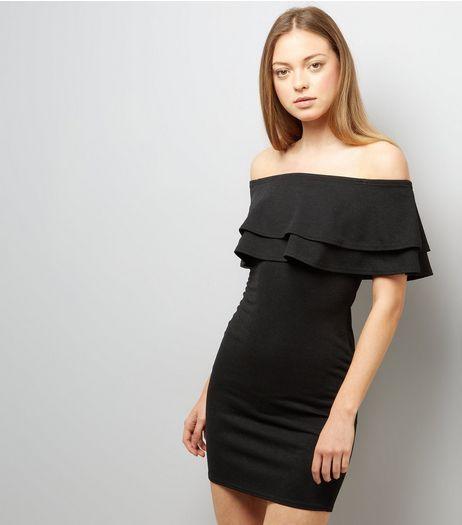 Black Frill Trim Bardot Neck Bodycon Dress   New Look