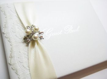 Wedding guest book with pearl and lace