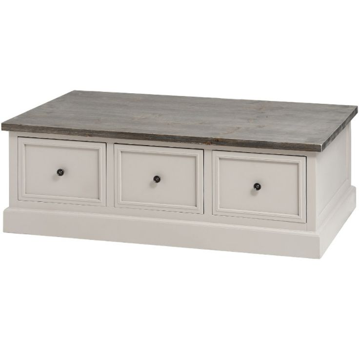 Mushroom Grey Painted Coffee Table With 6 Drawers