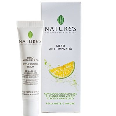 """UNICELLULAR WATER ANTI-IMPURITIES SERUM An effective """"early intervention"""" against localized blemishes.Its texture, light and fresh, contains unicellular green mandarin* water and mandelic acid from bitter almonds to encourage cell renewal and remove impurities."""