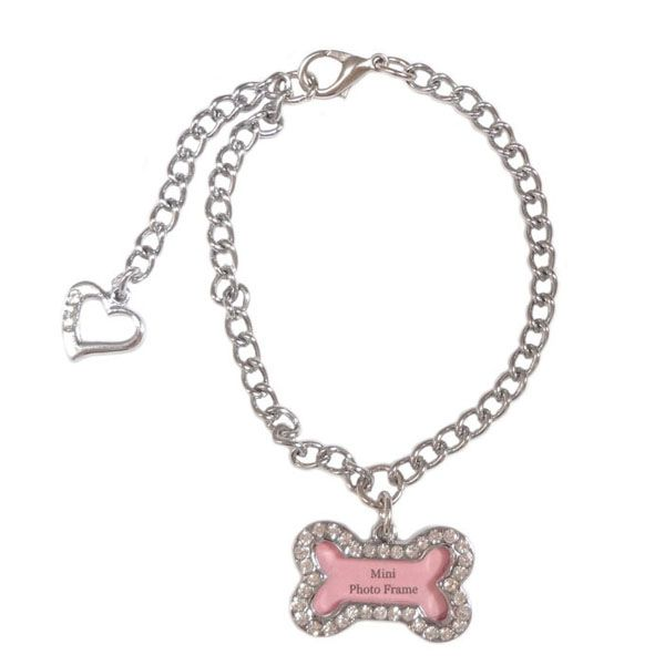 Rhinestone Photo Frame Dog Tag Charm Pet Stainless Steel Necklace