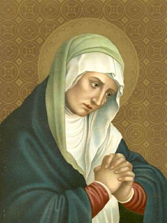 afb. door B. Kühlen: de Moeder van Smarten.    ROZENKRANS VAN  DE 7 SMARTEN VAN MARIA    Indien u deze specifieke rozenkrans niet bezit, dan kunt u de gebeden ook in onderstaande volgorde bidden.