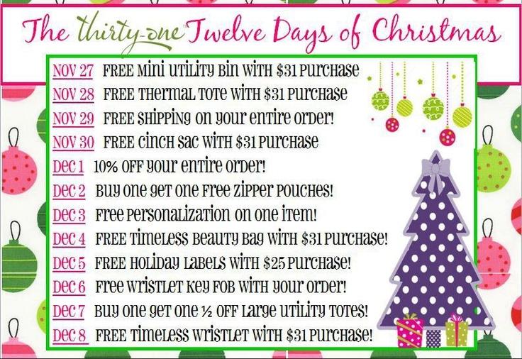 ThirtyOne Twelve Days of Christmas gift ideas Thirtyone