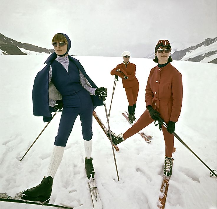 Switzerland - Winter 1963, Vogue. Photo George Barkentin - Condè Nast Archive. Vintage ski style.