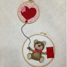 Kırmızı Kalpli Balon ve Ayıcık