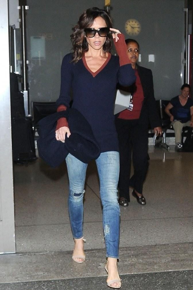 Victoria Beckham wearing Victoria Beckham Two-Tone Ribbed Wool-Blend Sweater