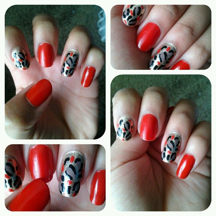 Red cheetah Nail Design