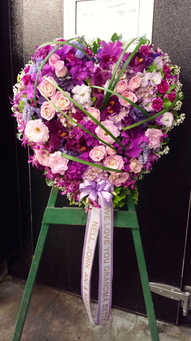 76 best sympathy flower arrangements images on pinterest purple closed hearth standing spray izmirmasajfo Choice Image