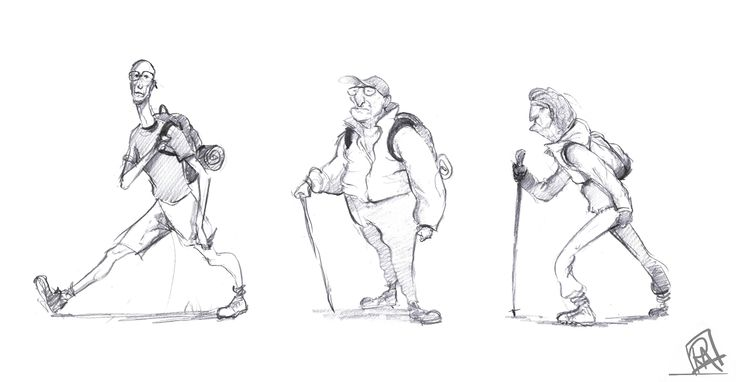 5 minute sketches of hikers!