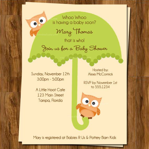 fall baby shower invitations with umbrella and owls sprinkle invites