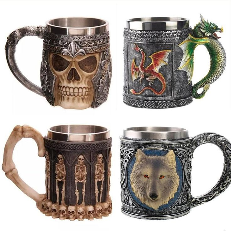 Personalized Double Wall Stainless Steel 3D Skull Mugs  #Kitchengadgets #Kitchenutensils #GBBO #Kitchen