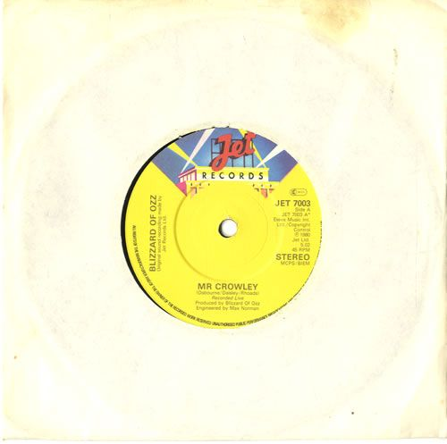 """For Sale - Ozzy Osbourne Mr Crowley UK  7"""" vinyl single (7 inch record) - See this and 250,000 other rare & vintage vinyl records, singles, LPs & CDs at http://eil.com"""