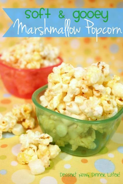 {Dessert Now, Dinner Later!} Soft & Gooey Marshmallow Popcorn- this popcorn will knock your socks off! It is incredibly addicting & easy to make!
