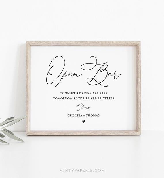 Open Bar Wedding Sign Template Printable Funny Bar Sign