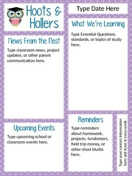 "Cute ""Hoots & Hollers"" Owl Newsletter Template - editable!"