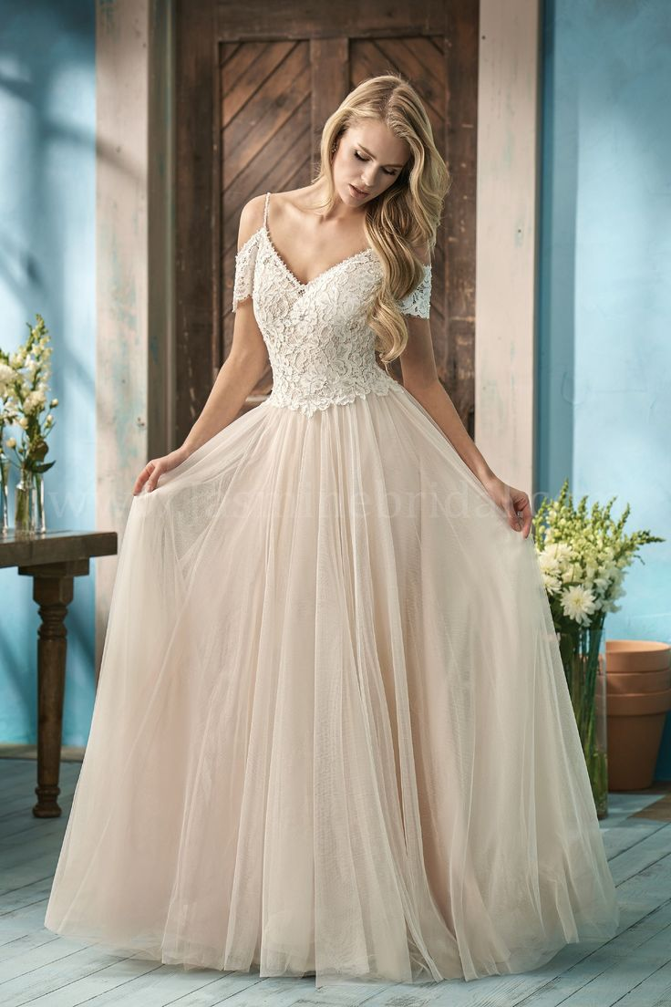 Jasmine Bridal | Collection Style F191053 in Ivory/Rose Quartz | Alencon Lace, English Net | Rustic Style A-Line Bridal Gown | V-Neck | Off-the-Shoulder