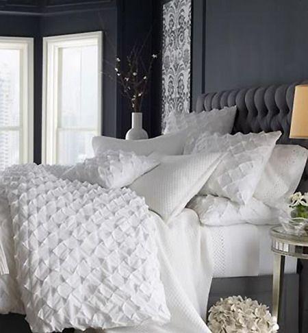grey room + super plush white bedding... love