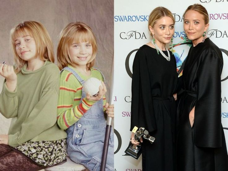 "Child stars then & now: The Olsen twins 12 in their short lived Full House follow-up, ""Two of a Kind"" (left) and, Mary-Kate Olsen & Ashley Olsen pose backstage at the 2014 CFDA Fashion Awards at Alice Tully Hall in New York, on June 2, 2014"