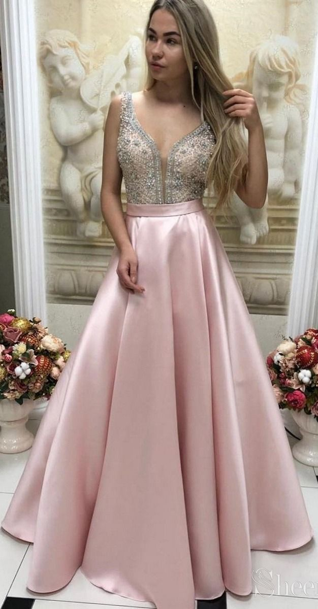 V neck beaded pink prom dresses. Prom Dresses 2019,long Prom Dresses, #eveningdresses #eveninggowns #formaleveningdresses #promdresses #ballgowns #graduationparty #promdresseslong #prom #promgown #quinceanera #promdress2019 #prom2k19