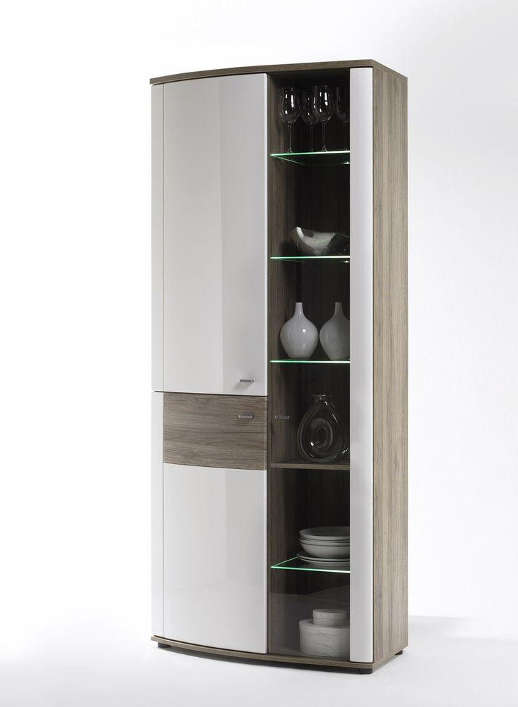 Vitrine Montera Hochglanz Weiß und San Remo Eiche passend zum Möbelprogramm Montera 1 x Vitrine mit 2 Holztüren 1 Glastüre und Einlegeböden Maße:...