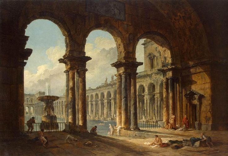 """Ancient Ruins Used as Public Baths"" by Hubert Robert (1798)"