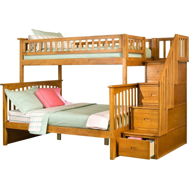 Best Columbia Staircase Bunk Bed Twin Over Full In Caramel 400 x 300
