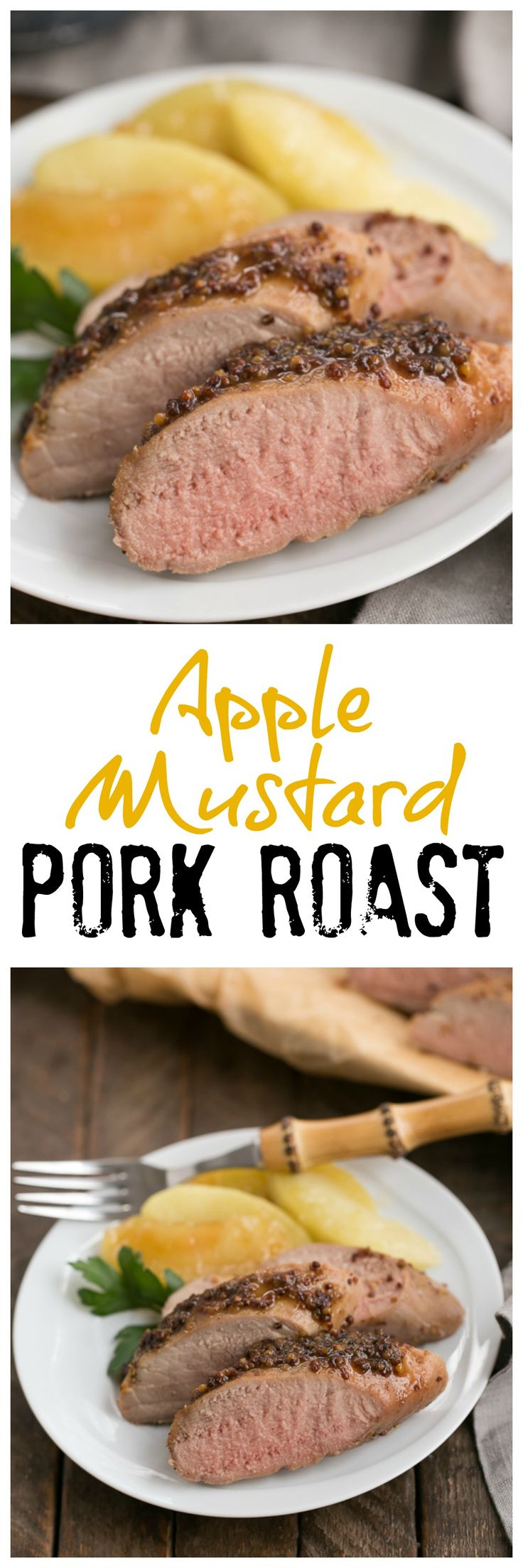 Apple Mustard Pork Tenderloin | A quick entree with a flavorful apple cider and grainy mustard based glaze @lizzydo