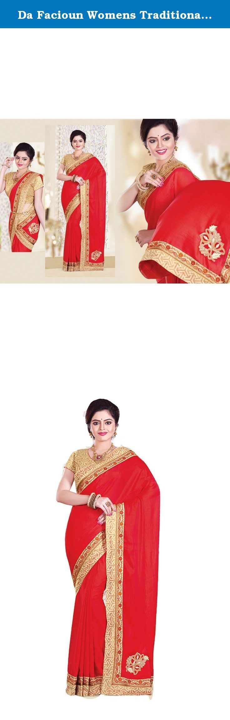 Da Facioun Womens Traditional Looking Silk Red Saree 79485. Style and design and trend would be at the peak of your attractiveness after you attire this Red Silk Saree. The attractive Embroidery Lace work through the attire is awe-inspiring.